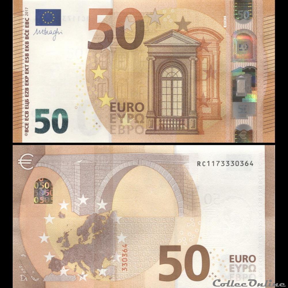 50 Euros Signature Draghi Pick 23 R Allemagne Billets Euros