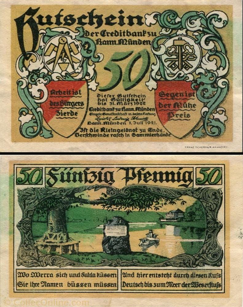 billet europe allemagne hannoversch munden 50 pfennig