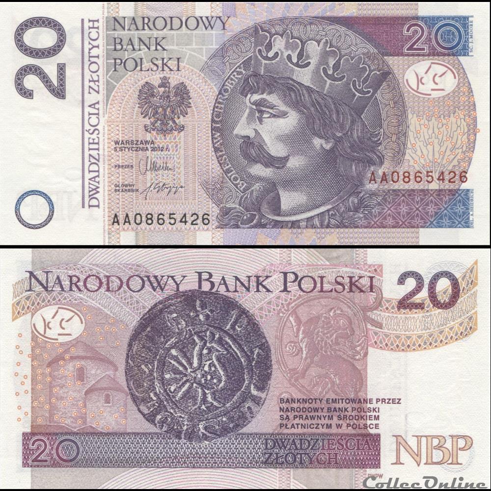 billet serbie pologne pick 184 20 zlotych 2012