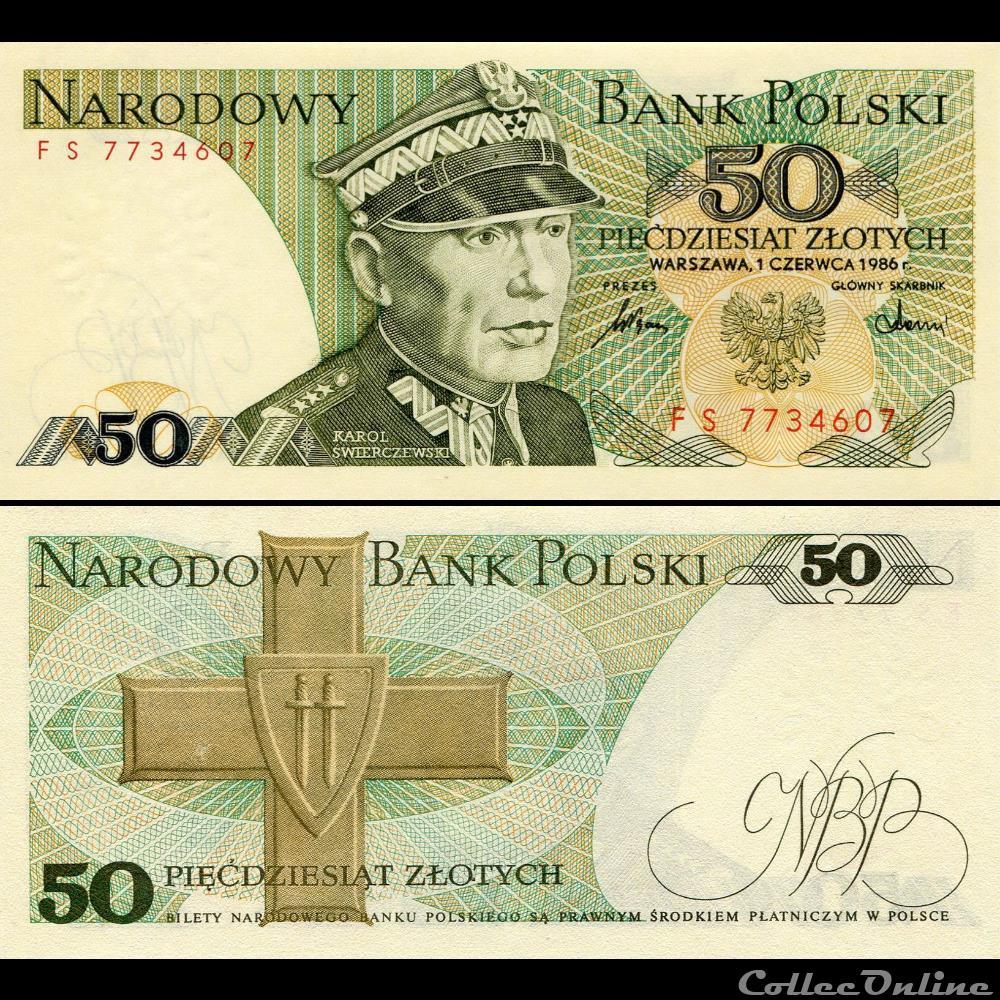 billet argentine pologne pick 142 d 50 zlotych 1986