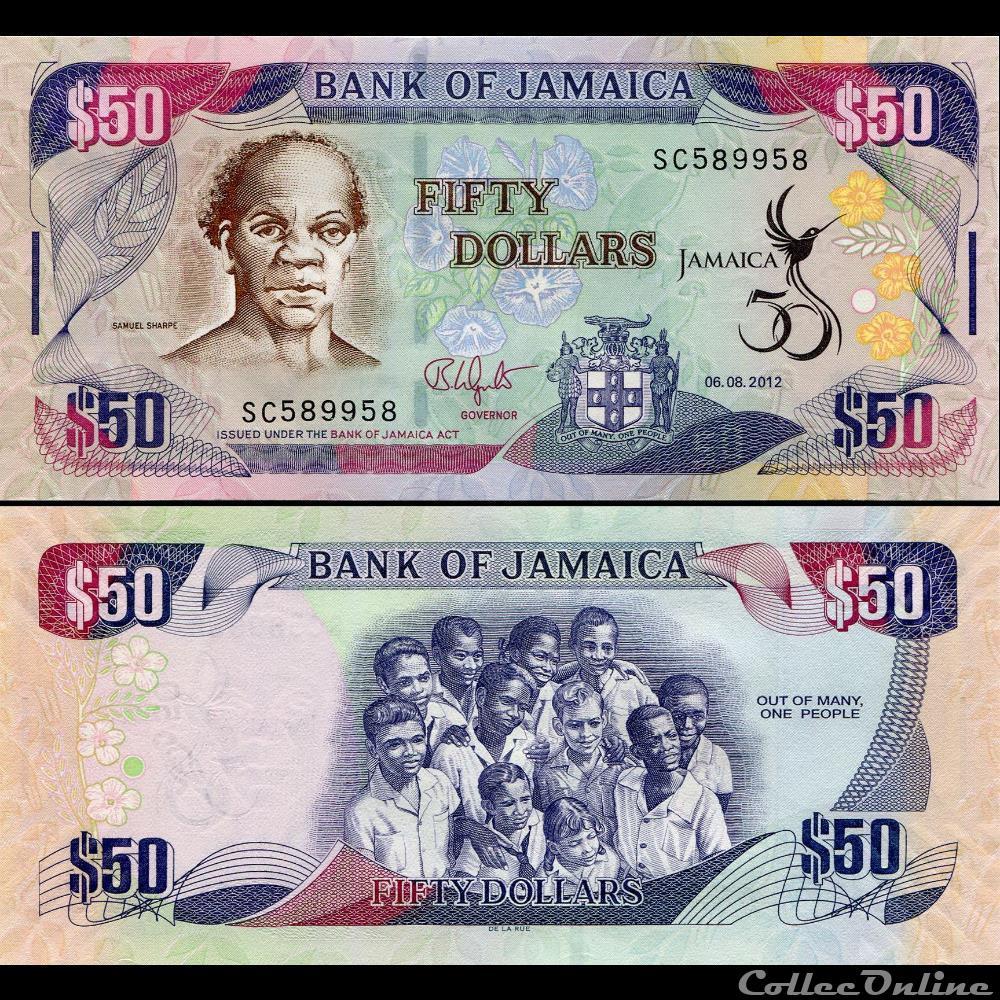 billet amerique du nord jamaique pick 89 50 dollars 2012