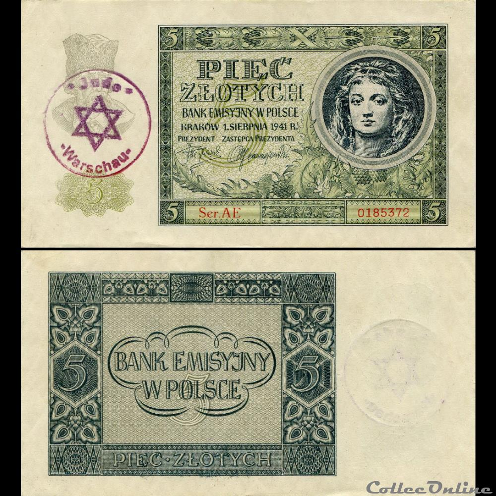 billet colombie pologne pick 93 5 zlotych 1940