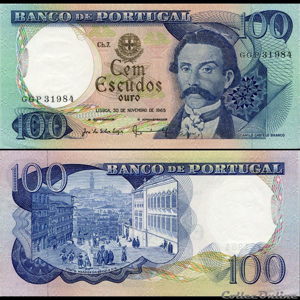 billet europe portugal pick 169 a 9 100 escudos 1965