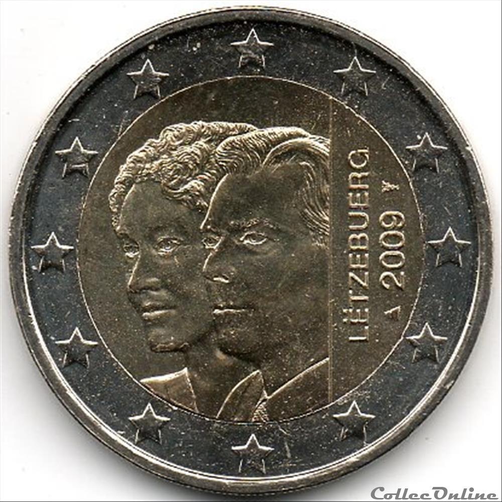 monnaie euro luxembourg 2009 90em anniversaire accession tron