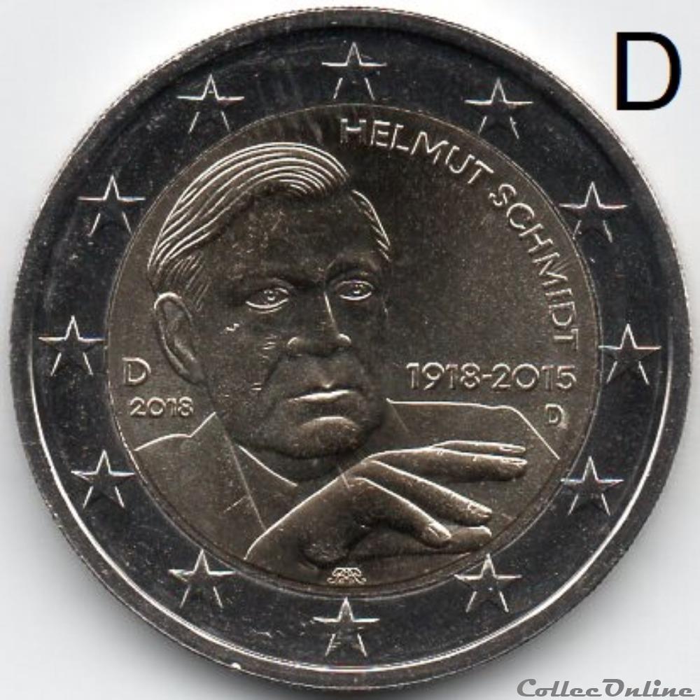 monnaie euro a allemagne 2018 helmut schmidt