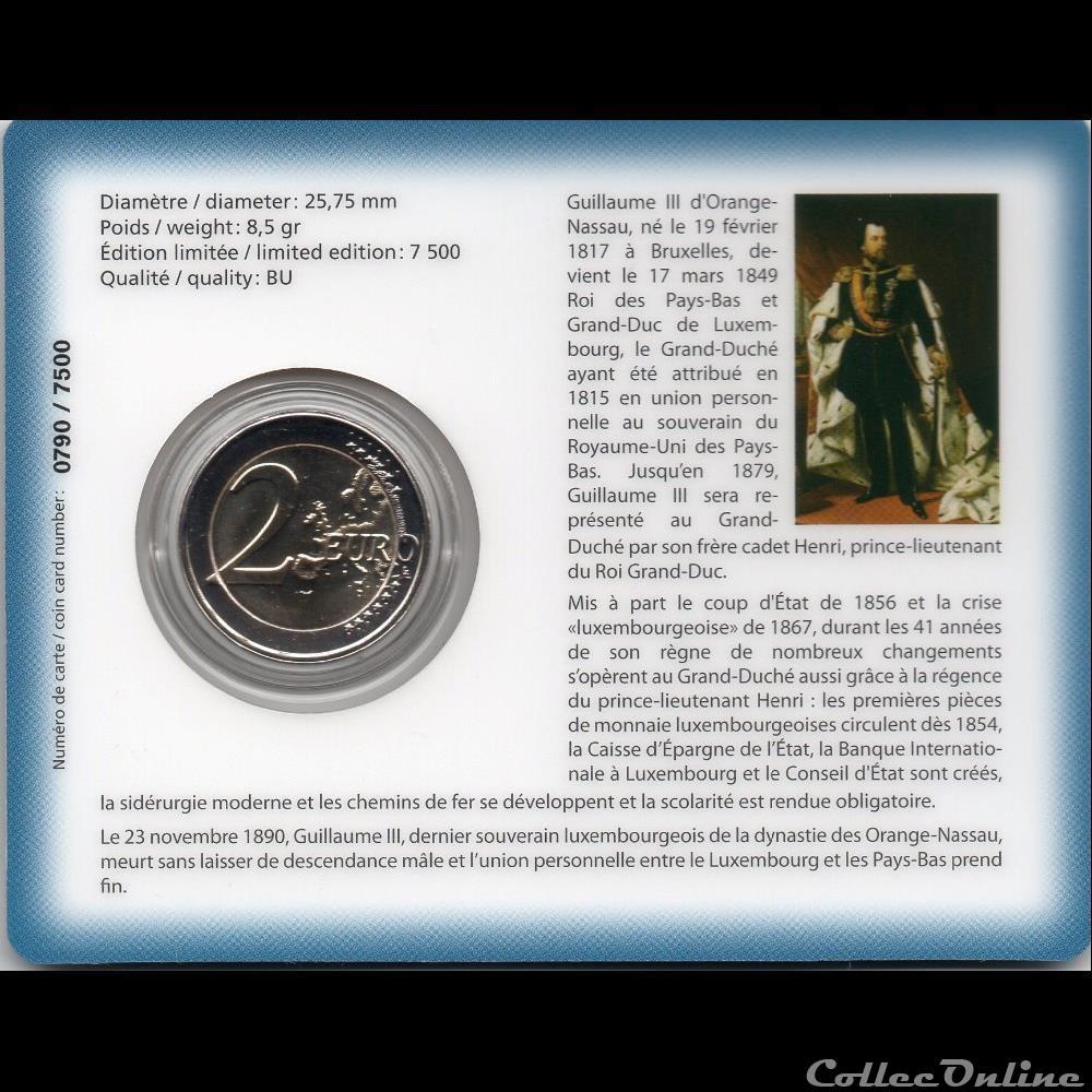 monnaie euro luxembourg 2017 coin card 200e anniversaire de la naissance du grand duc guillaume iii