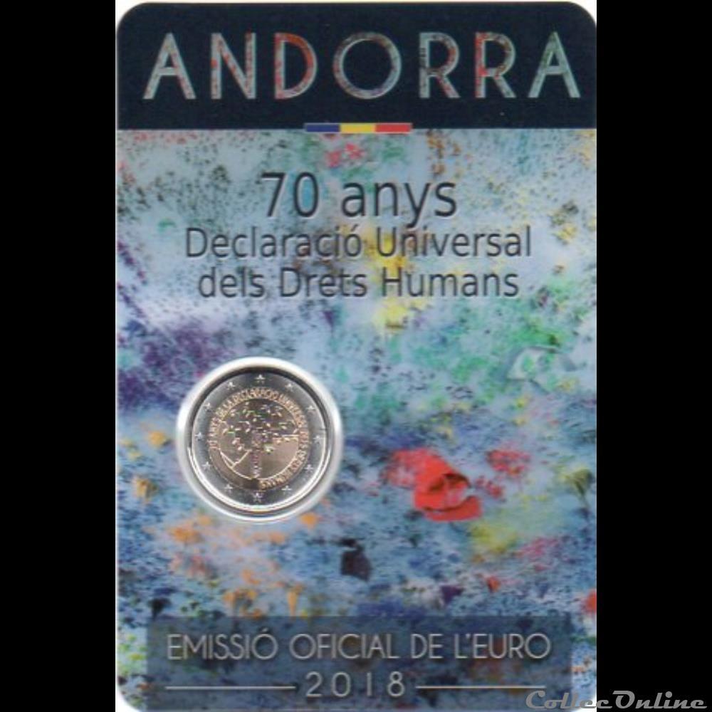 monnaie euro andorre 2018 70 ans declaration universelle des droits d homme