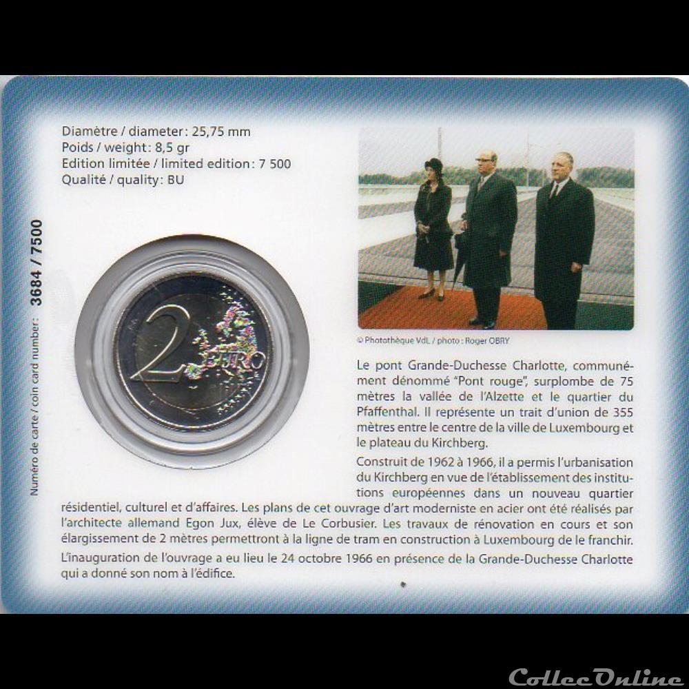 monnaie euro luxembourg 2016 coin card 50 eme anniver du pont grande duchesse charlotte