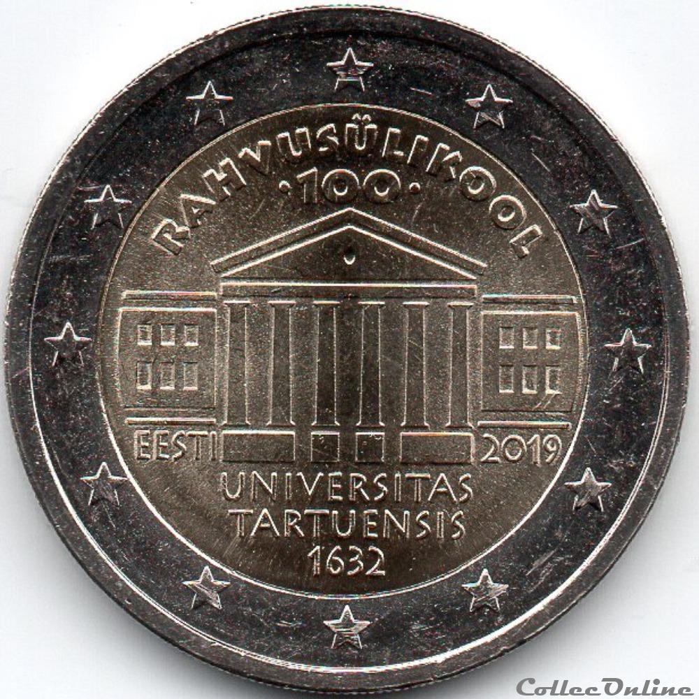monnaie euro estonie 2019 100 ans de universite