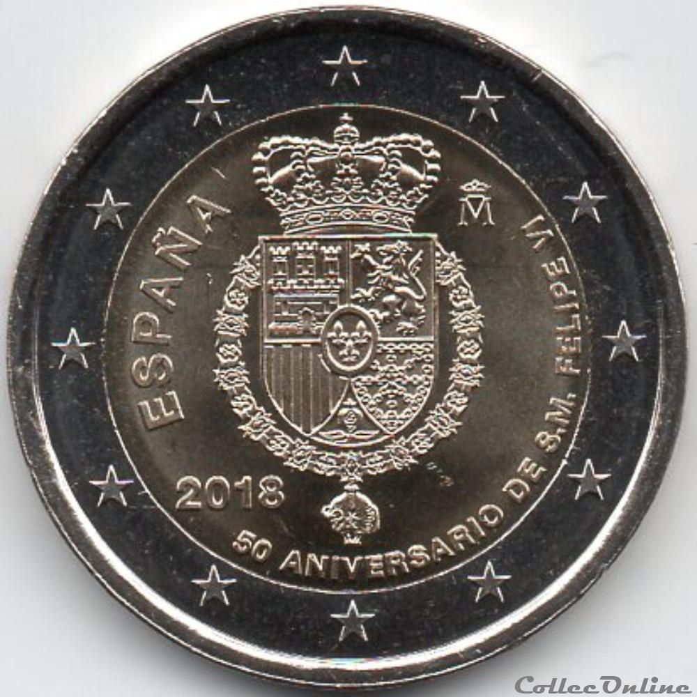 monnaie euro espagne 2018 60ieme anniversaire du roi felipevi