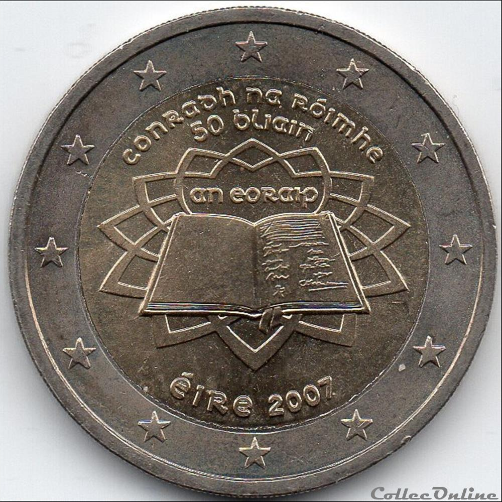monnaie euro irlande 2007 traite de rome
