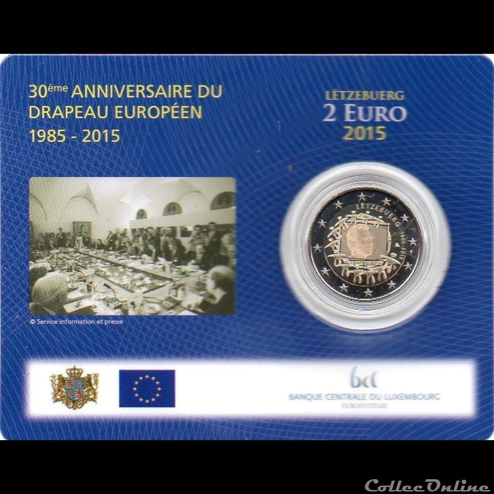 monnaie luxembourg 2015 coin card 30ieme anniversaire drapeau europeenne