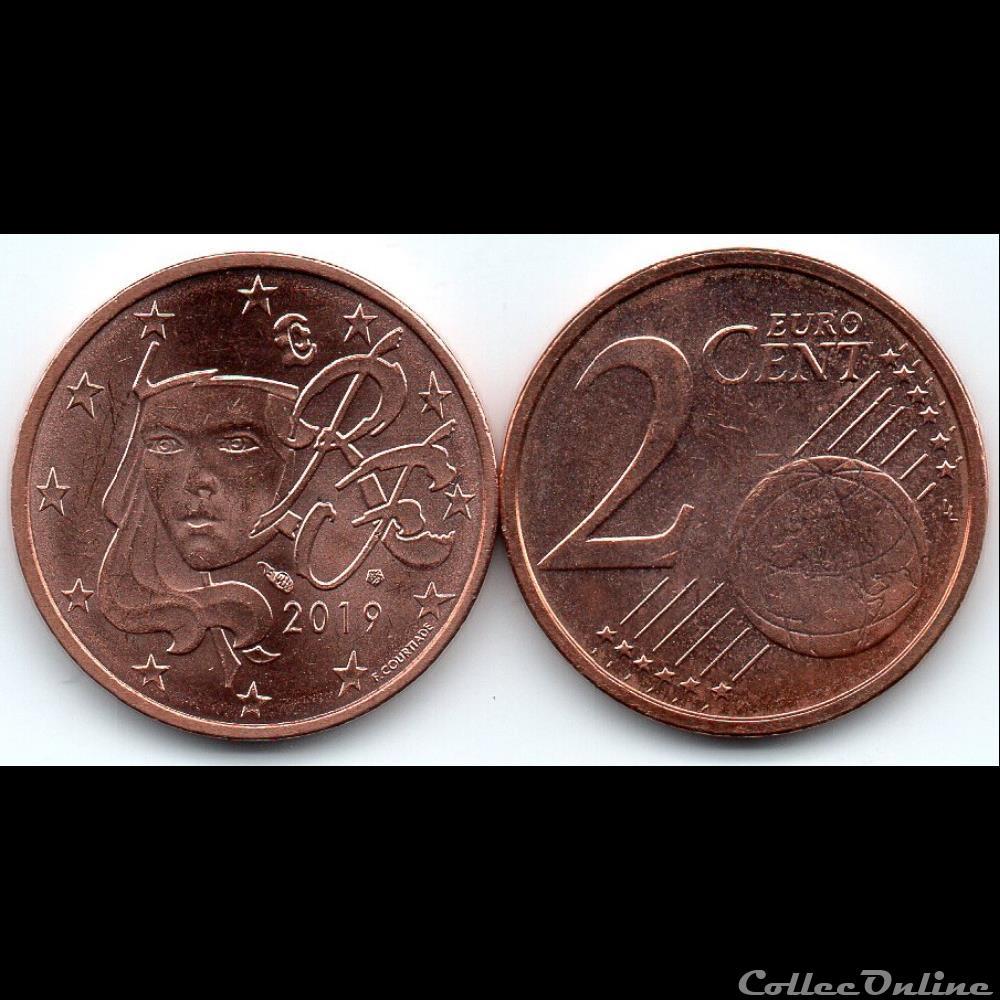 monnaie euro france 2 cent 2019 marianne symbole de la republique francaise