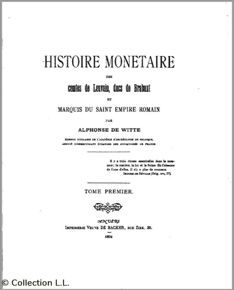monnaie livre ouvrage 1804 histoire monetaire des comtes de louvain ducs de brabant