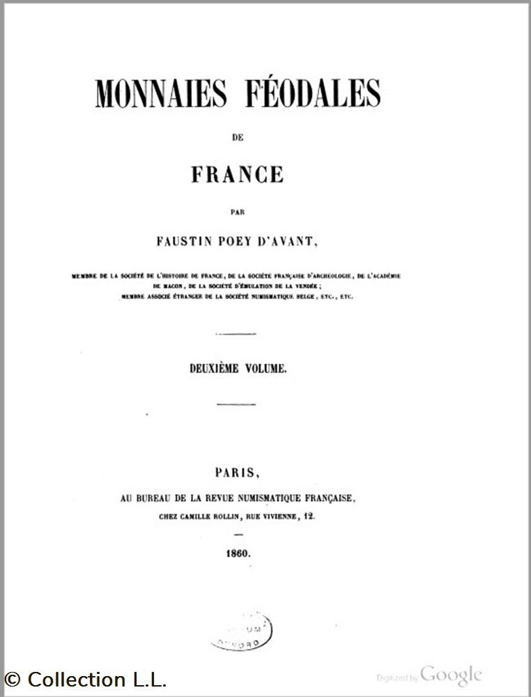 livre ouvrage 1860 monnaies feodales de france