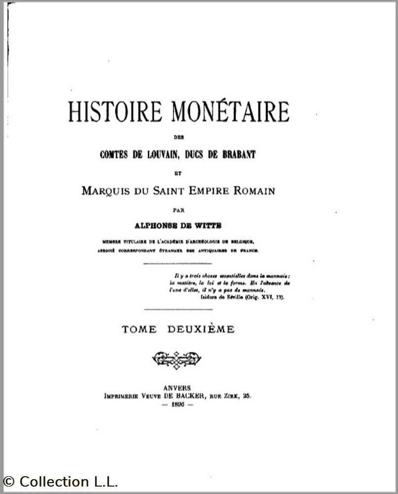 monnaie livre ouvrage 1806 histoire monetaire des comtes de louvain ducs de brabant