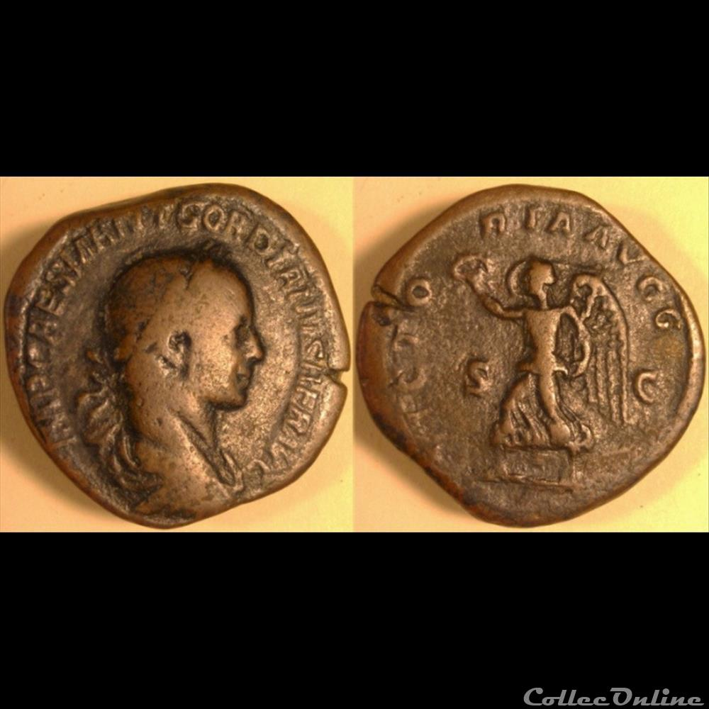 monnaie antique romaine gordien ii sesterce regravure victoria avgg