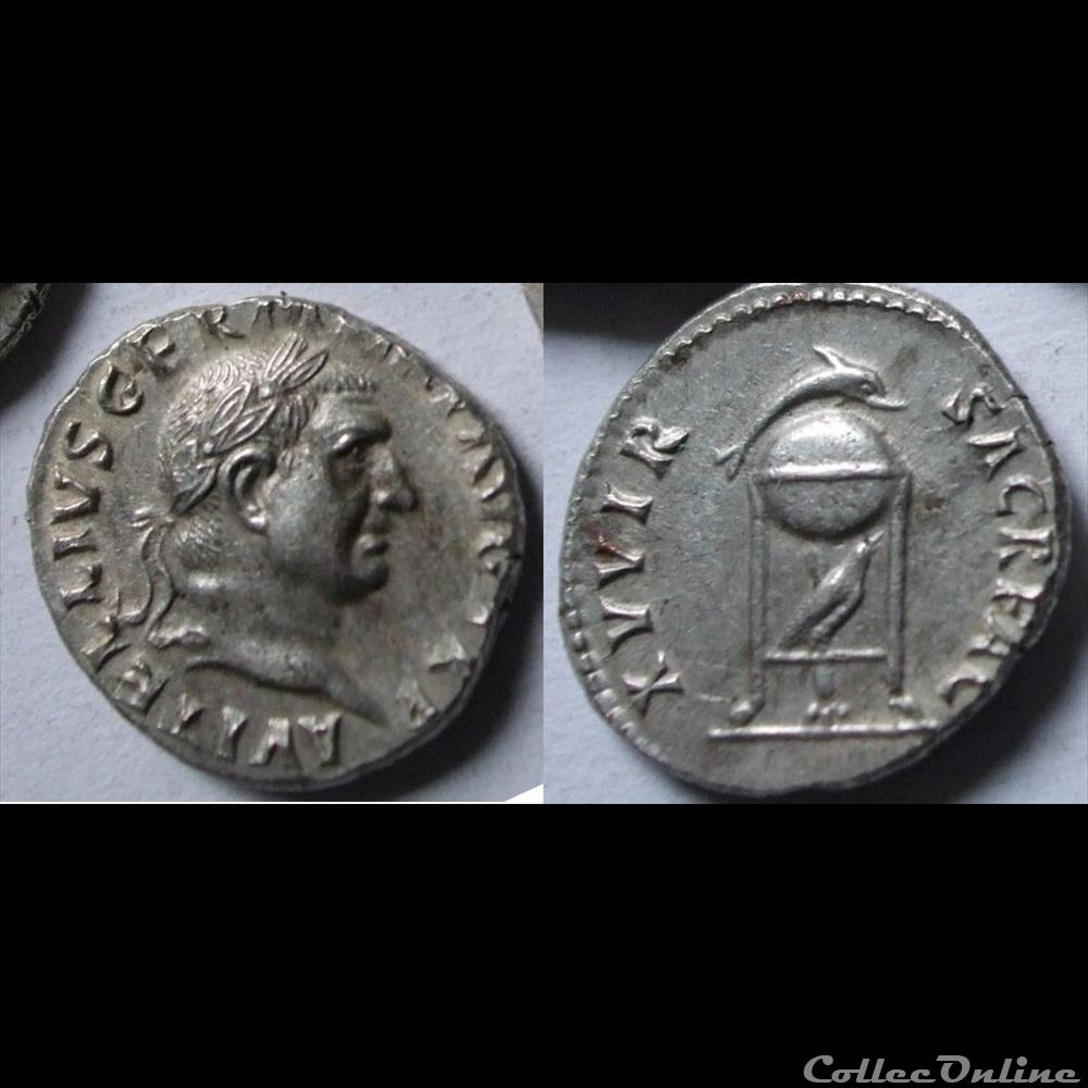 monnaie antique romaine vitellius denier xv vir sacr fac