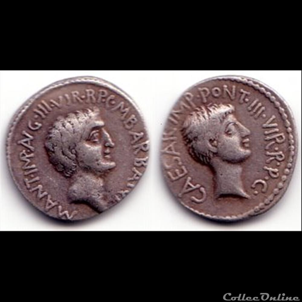 monnaie antique romaine marc antoine et octave denier