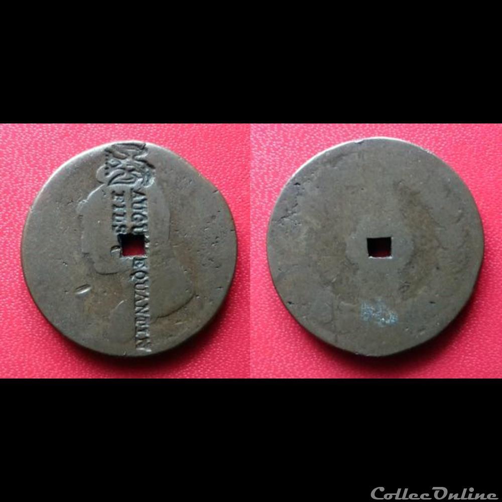 monnaie france moderne 1 decime contremarque un oiseau et auguste quantin fils