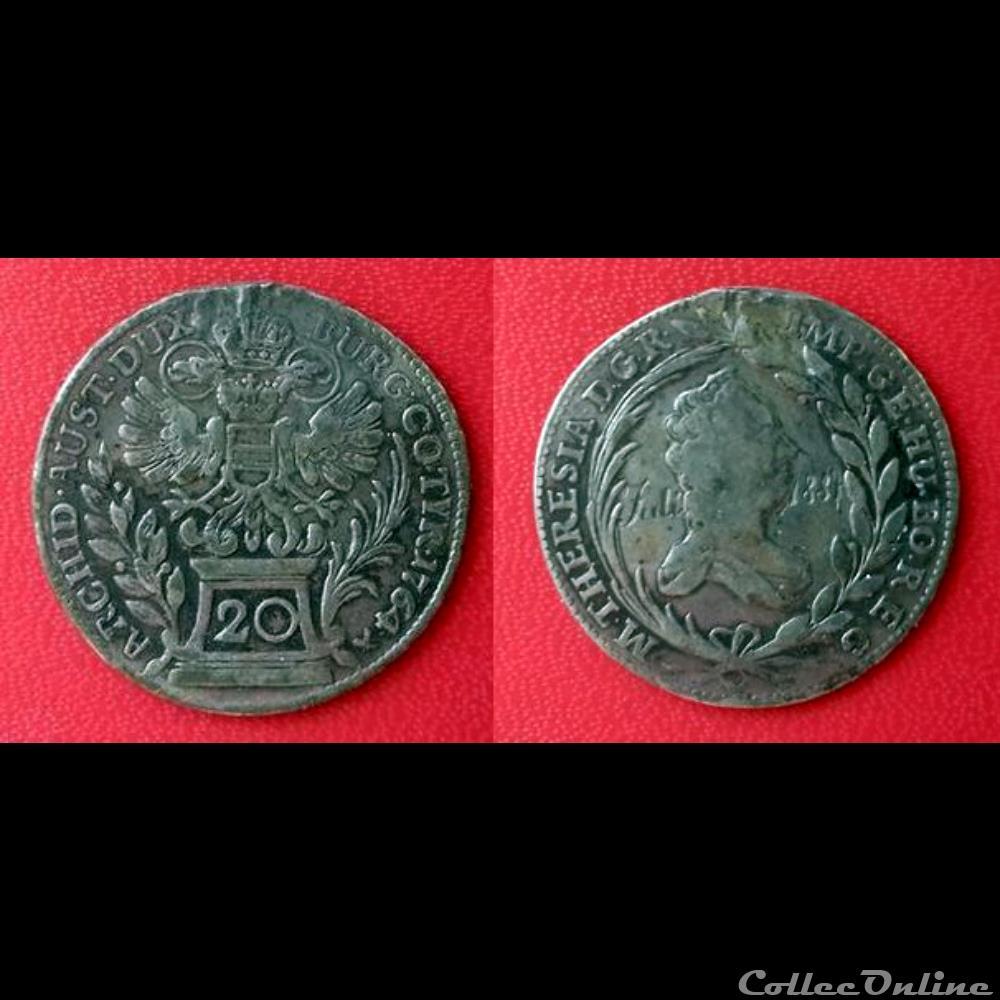 monnaie 20 kreuzer autriche 1764 regravee