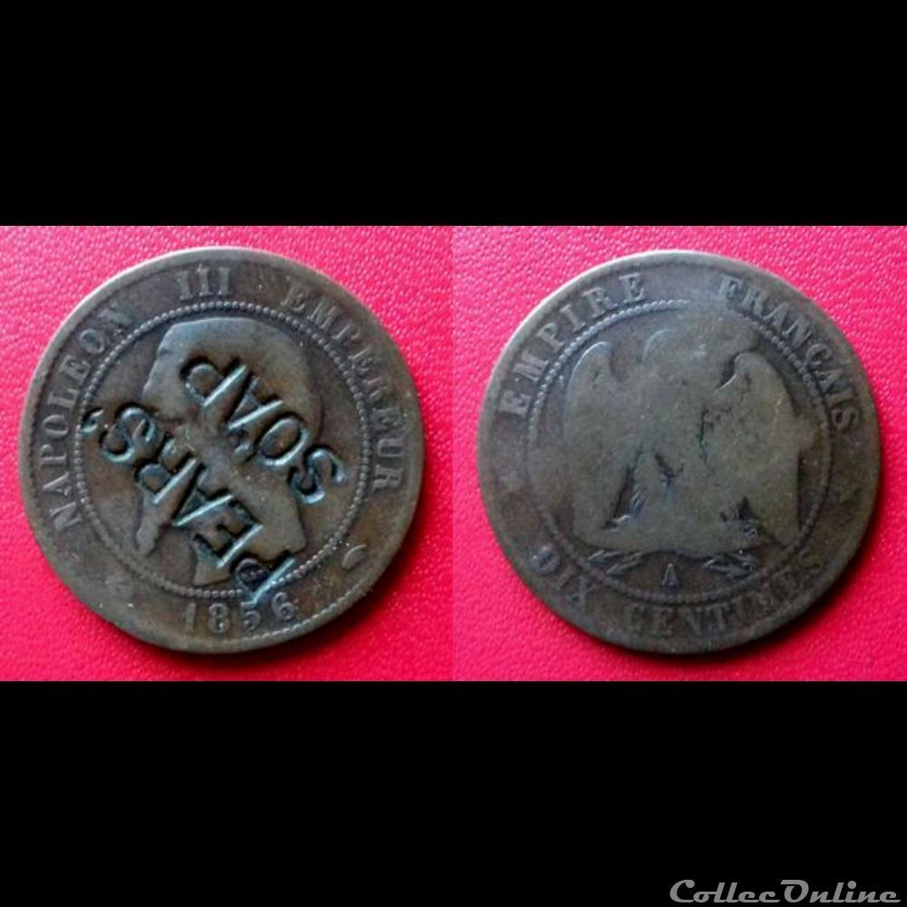 10 Cts Napoléon Iii Contremarquée Pears Soap Münzen Französische