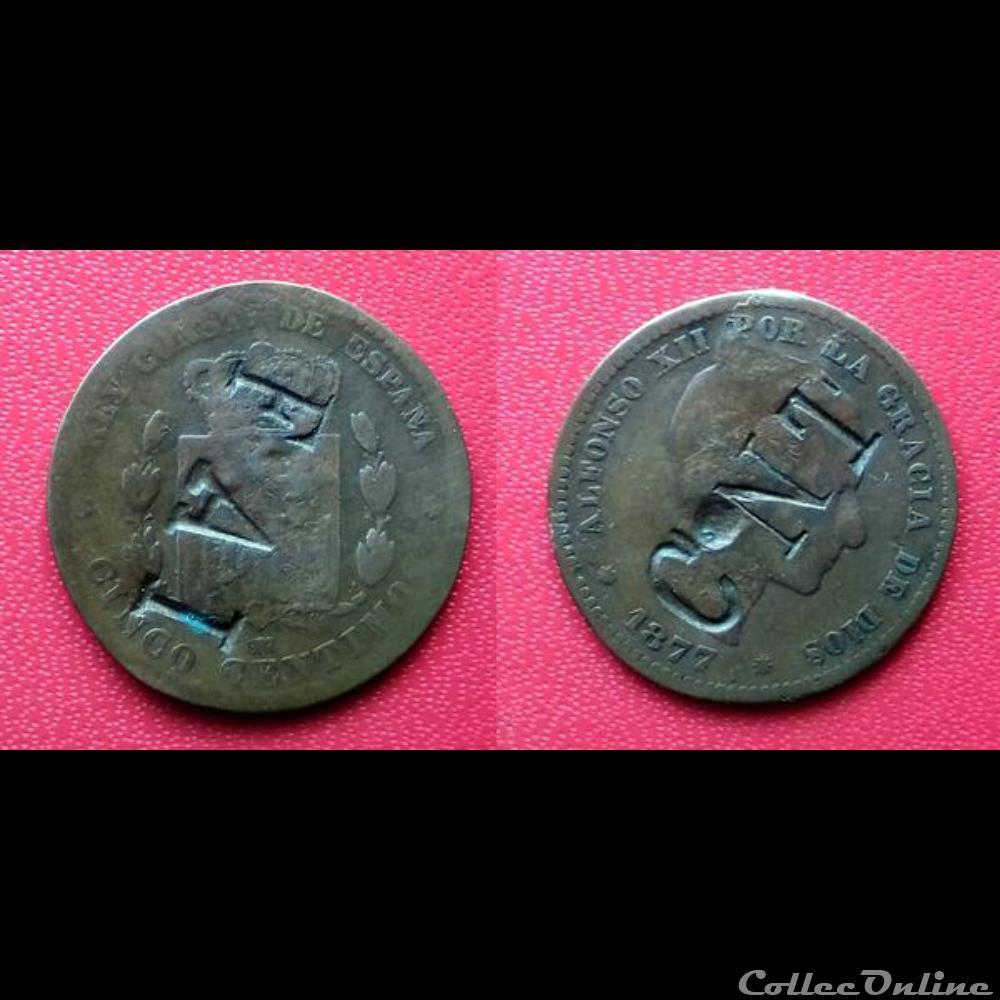 monnaie monde espagne 5 centimos contremarque fai cnt