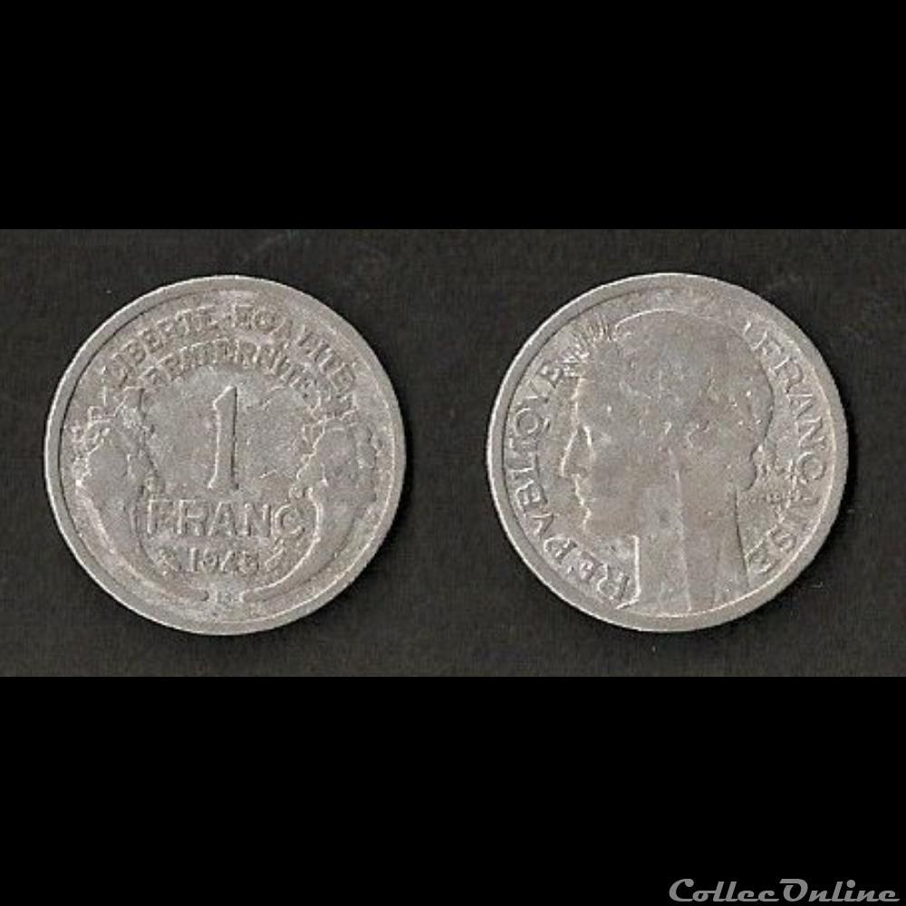 monnaie france moderne 1 franc morlon alu 1945 b