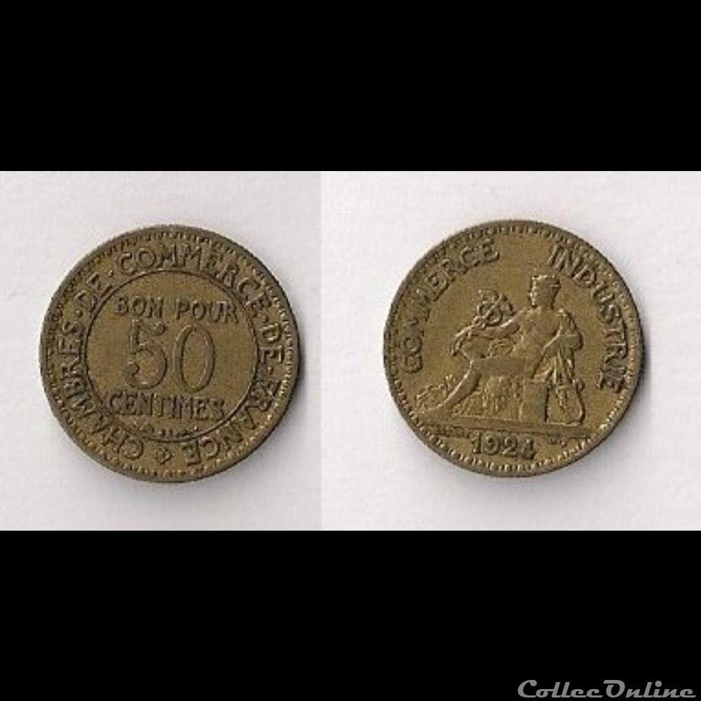 50 cts chambres de commerce 1924 monnaies france modernes 1791 - Chambre de commerce espagnole en france ...
