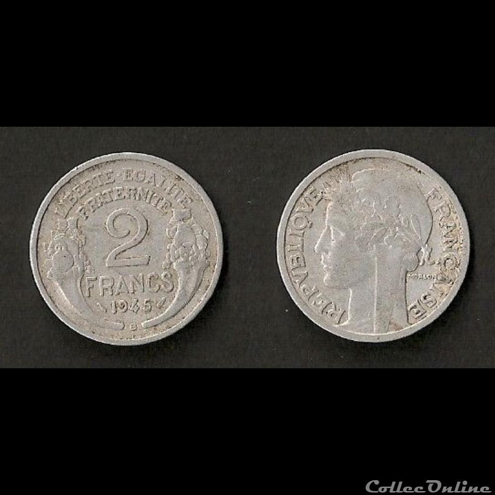 monnaie france moderne 2 francs morlon aluminium 1945 b