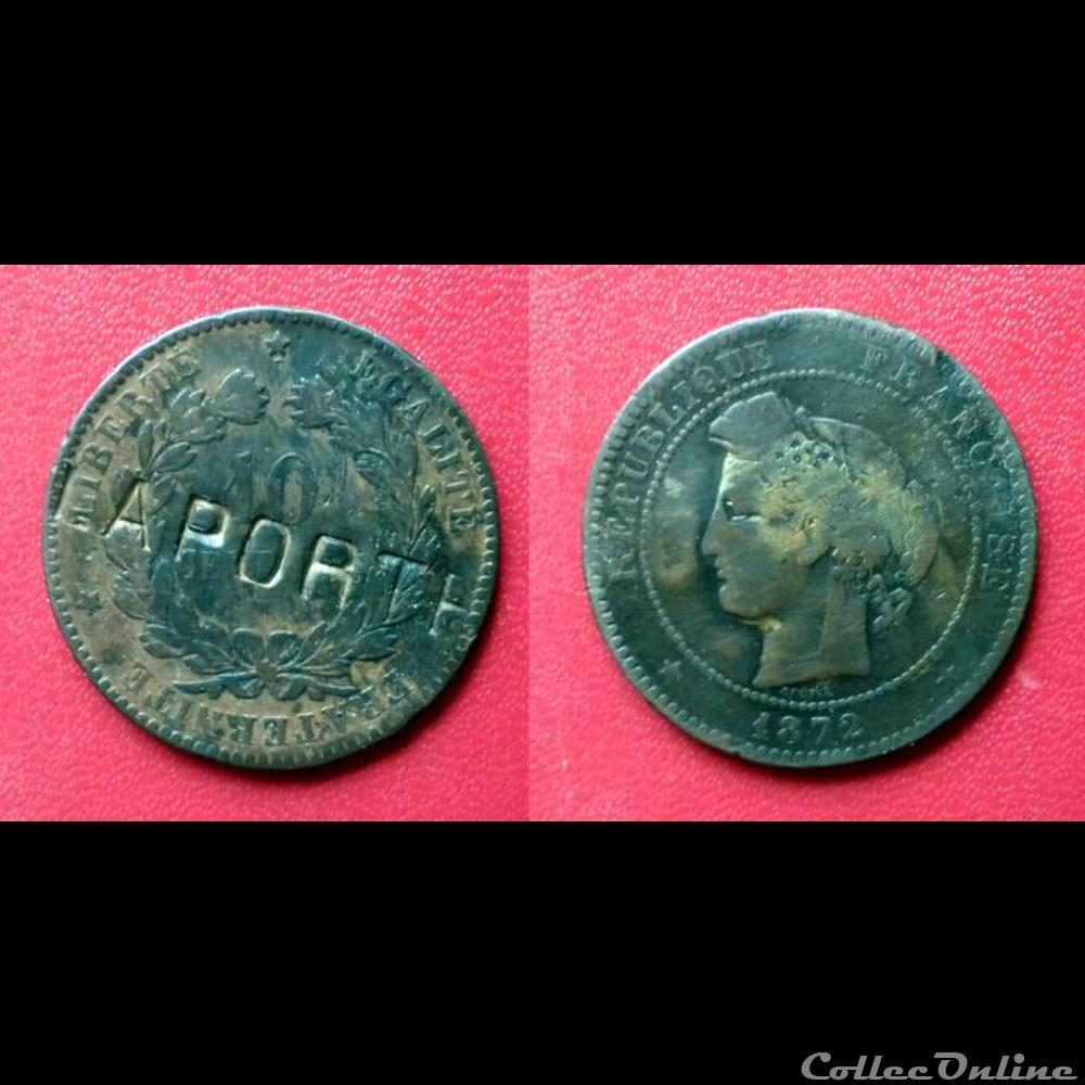 monnaie 10 cts ceres contremarquee laporte