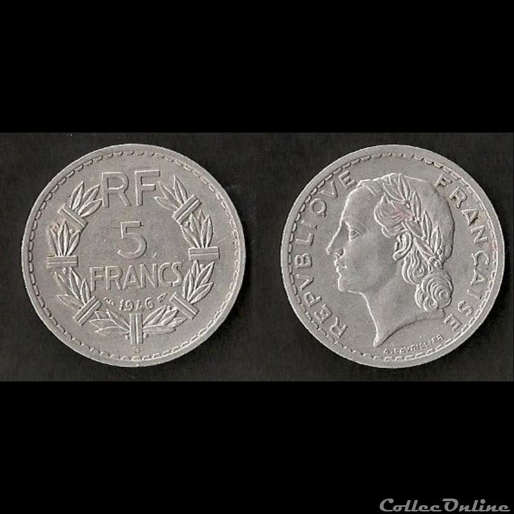monnaie france moderne 5 francs lavrillier 1946 b