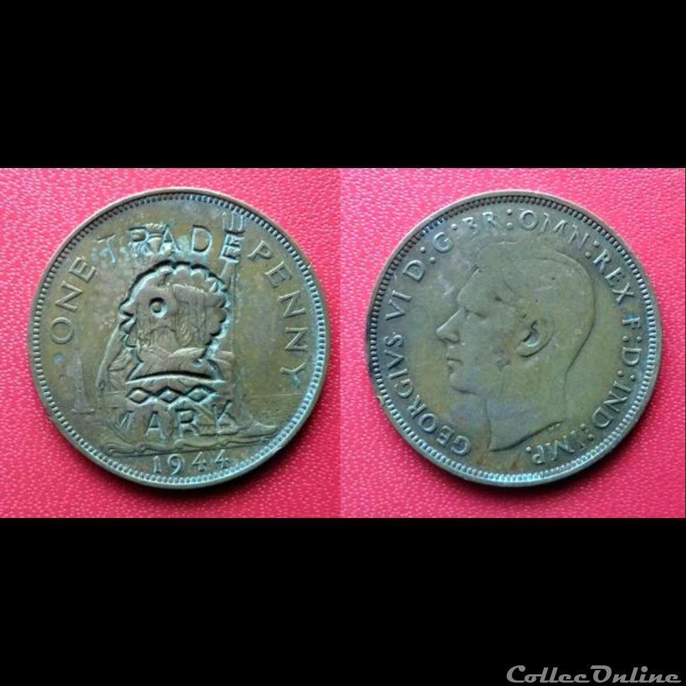 monnaie monde royaume uni 1 penny georges vi contremarque trade mark