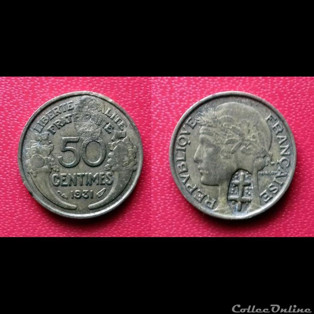 monnaie france moderne 50 cts morlon contremarquee un poincon croix de lorraine