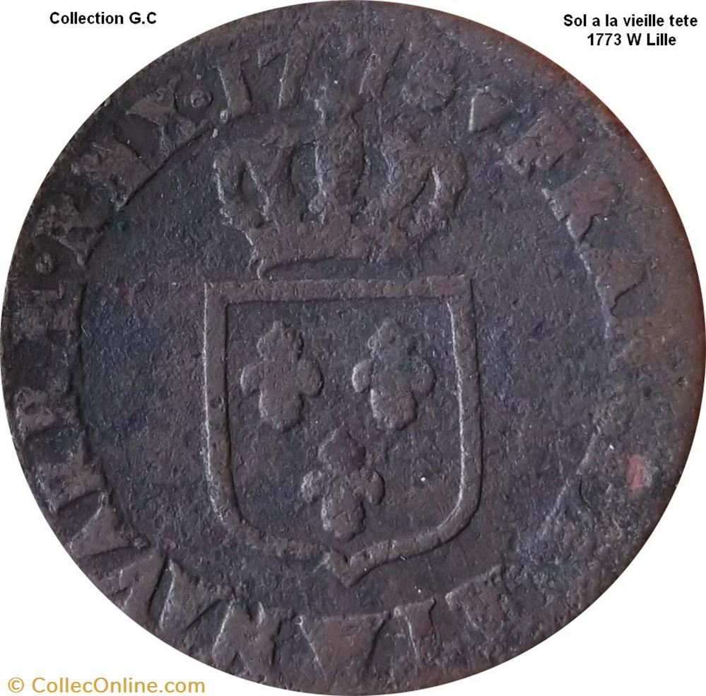 monnaie france royale sol a la vieille tete 1773 w lille