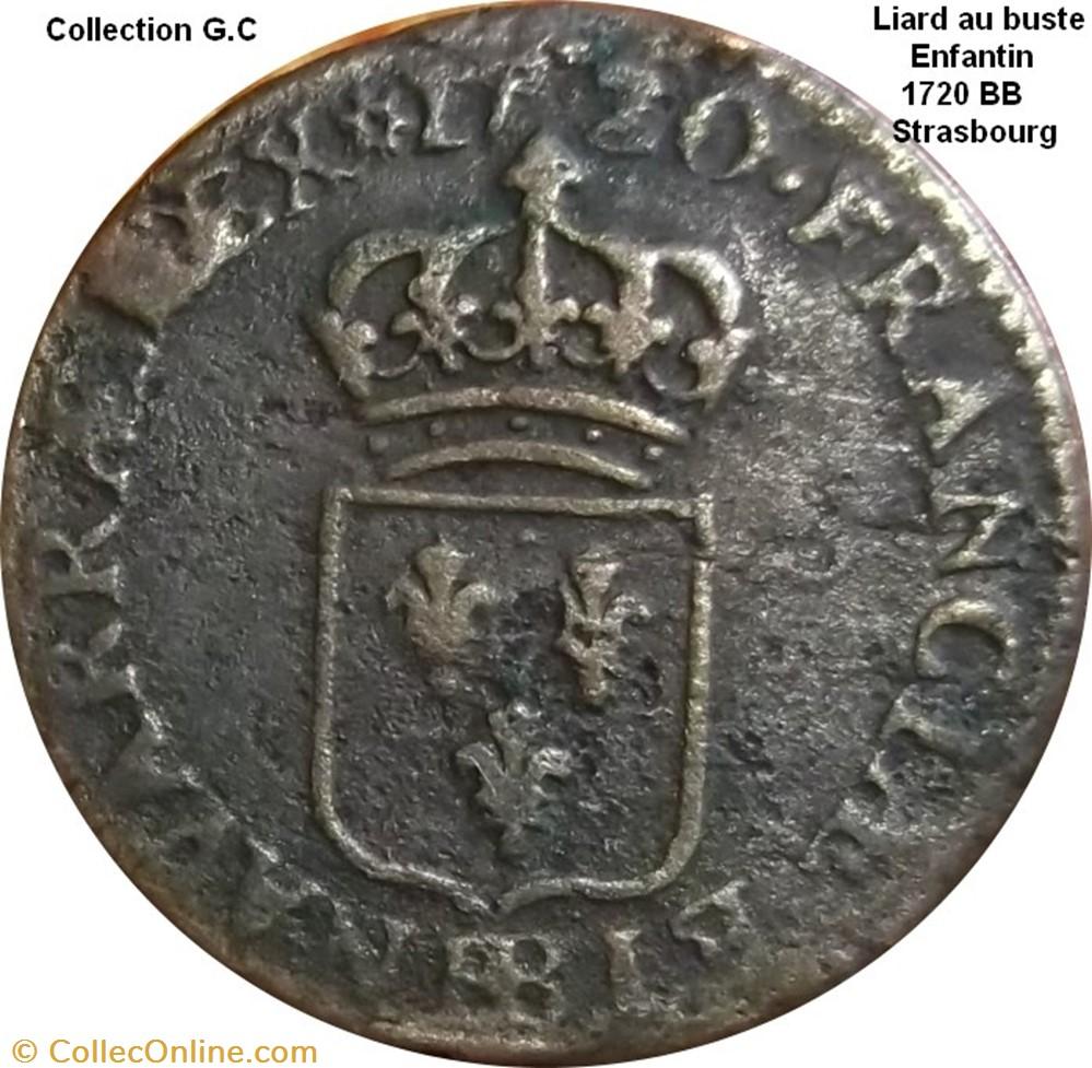 monnaie france royale liard au buste enfantin 1720 bb strasbourg