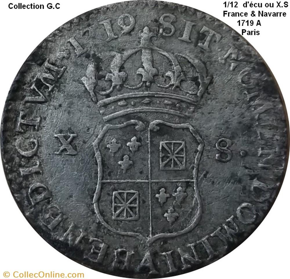 monnaie royale 1 12 ecu ou x s de france navarre 1719 a paris