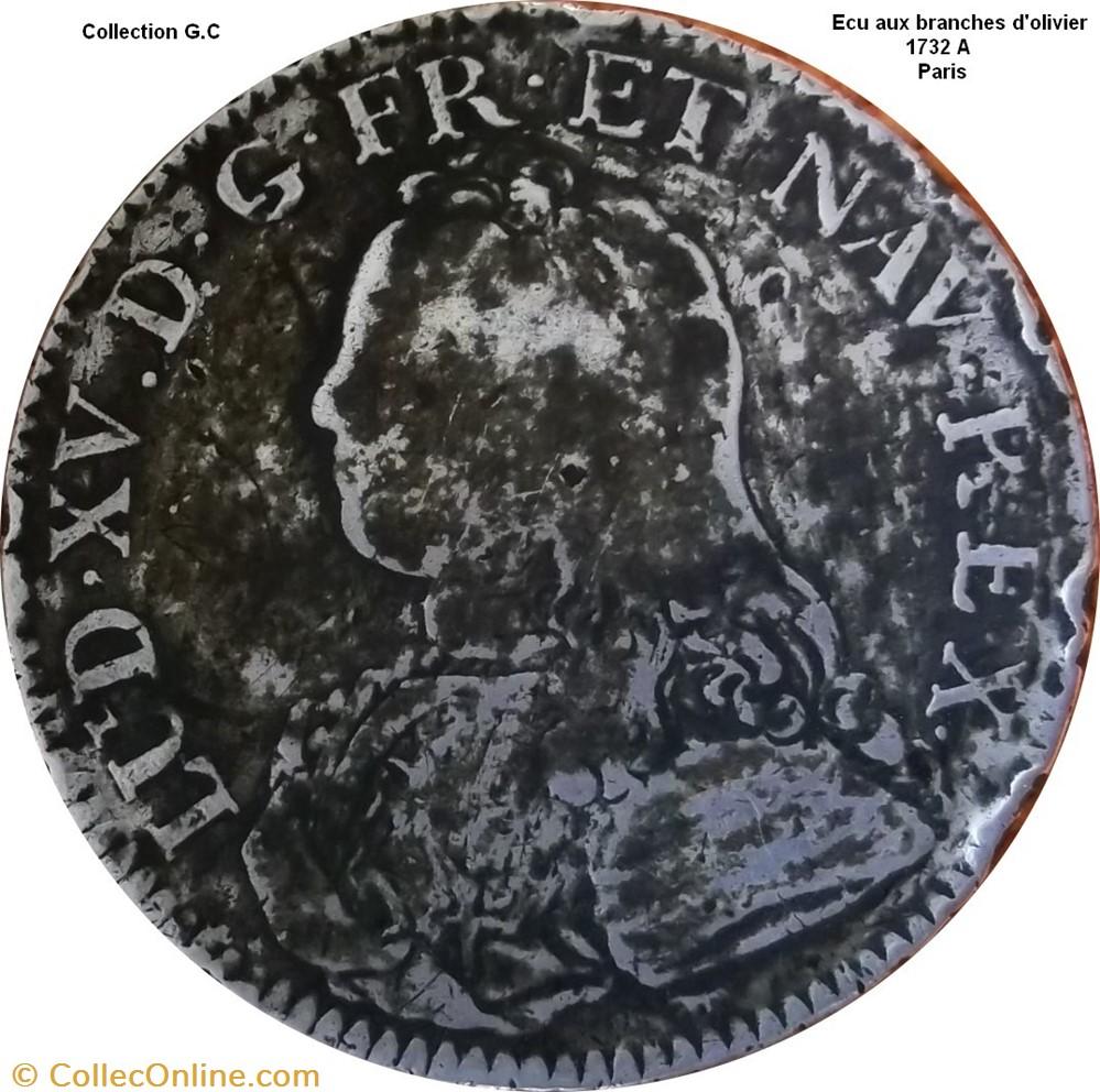 monnaie france royale ecu aux branches olivier 1732 a paris