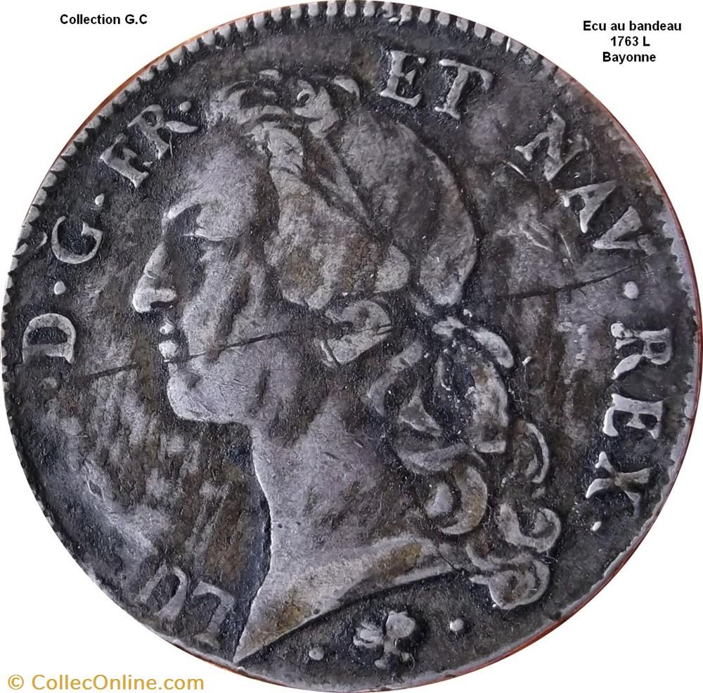 monnaie france royale ecu au bandeau 1763 l