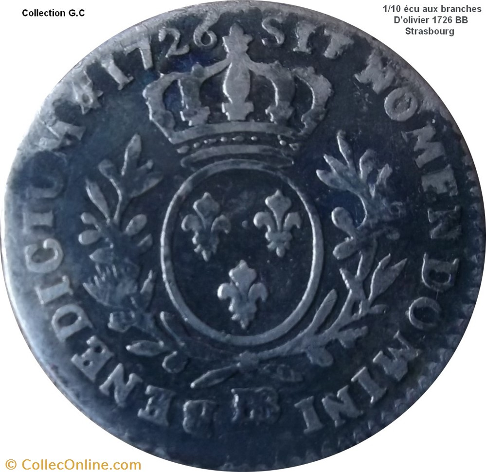 monnaie france royale 1 10 ecu aux branches olivier 1726 bb strasbourg