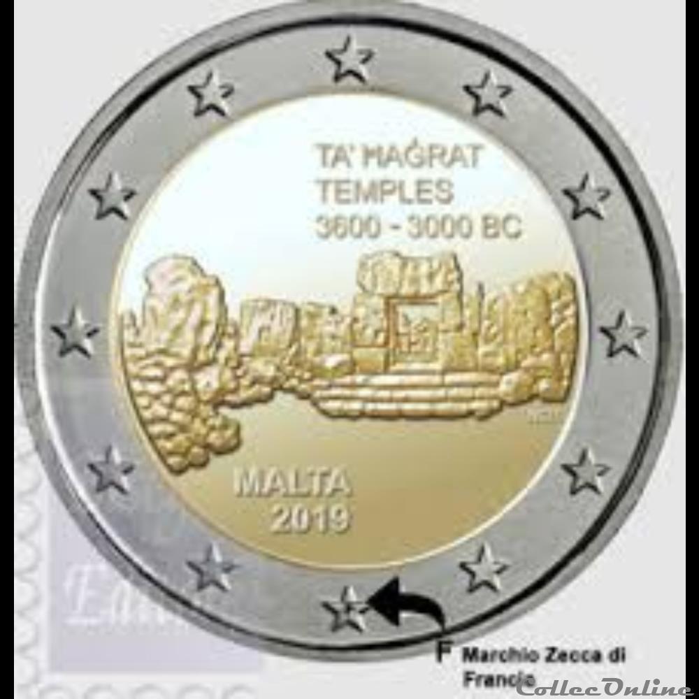 monnaie euro malte temple de thagrat avec f dans etoile 2019