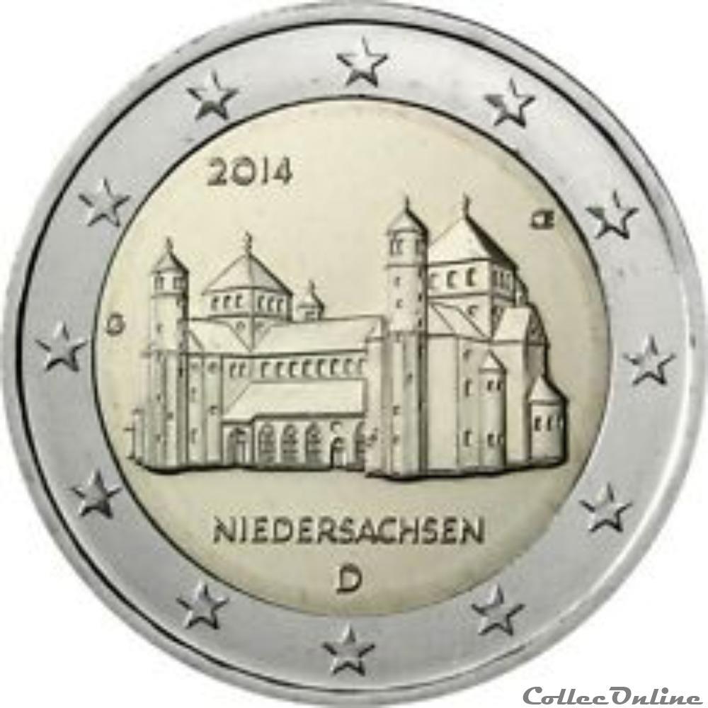 monnaie allemagne 2 euros niedersachen 2014