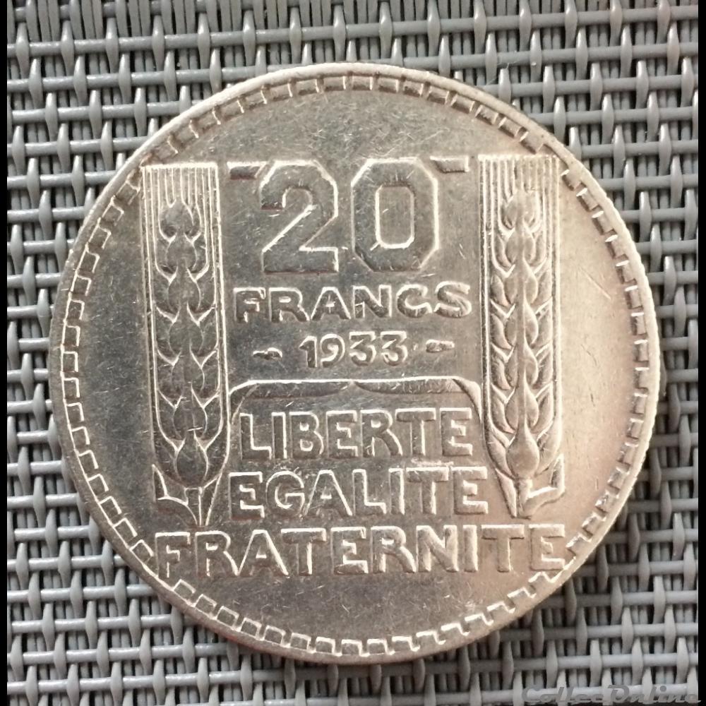monnaie france moderne 20 francs 1933 turin rameaux longs