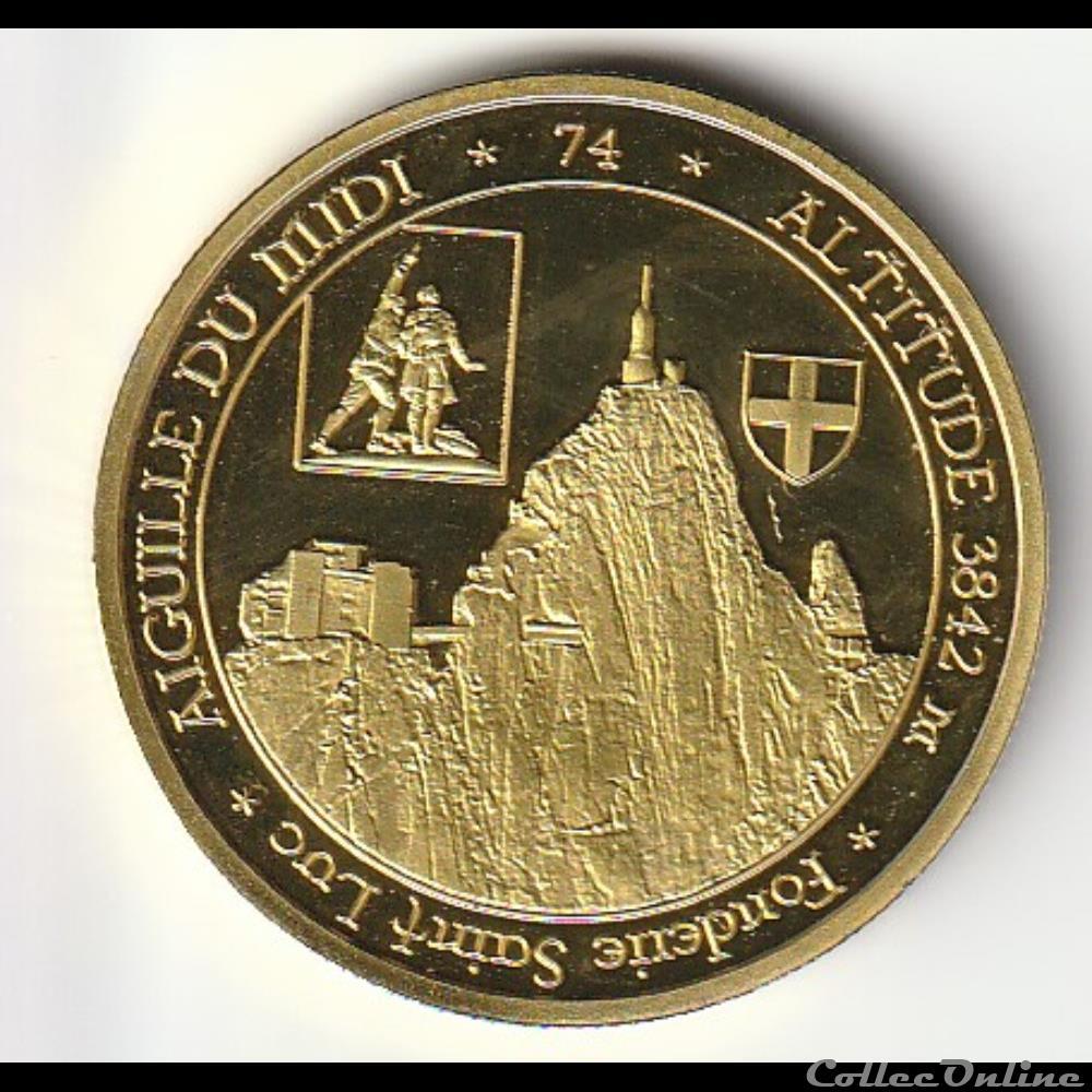 monnaie jeton mereaux france aiguille du midi altitude 3842 m fonderie st luc chamonix mont blanc mer de glace