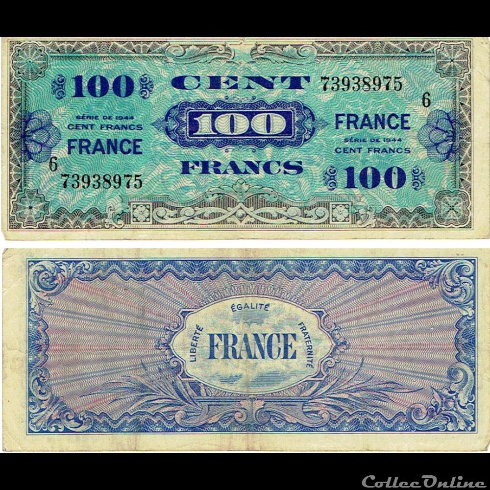billet france diver 100 francs type 1945 fabrication americaine