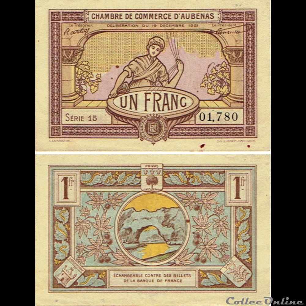 billet france diver 02 1 franc chambre du commerce