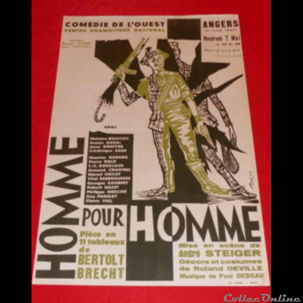 vieux papier affich spectacle comedie de ouest homme pour homme 1964