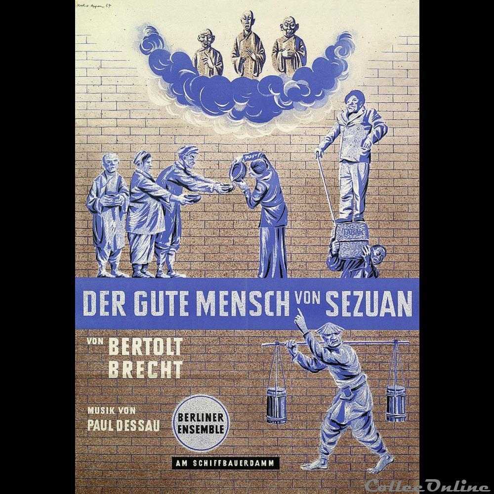 vieux papier affich spectacle berliner ensemble der gute mensch von sezuan 1957