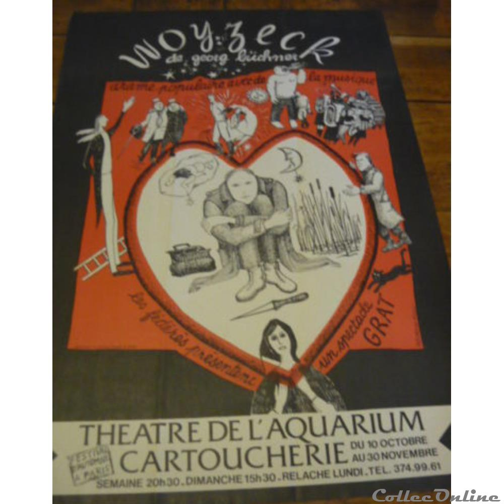 vieux papier affich spectacle theatre de aquarium woyzeck 1980