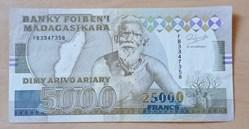 25000 francs - 500 Ariary Madagascar (19...